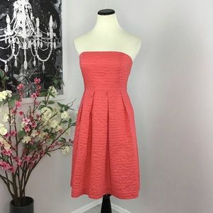 J Crew Factory Lorelei Coral Dress in Deco Dot